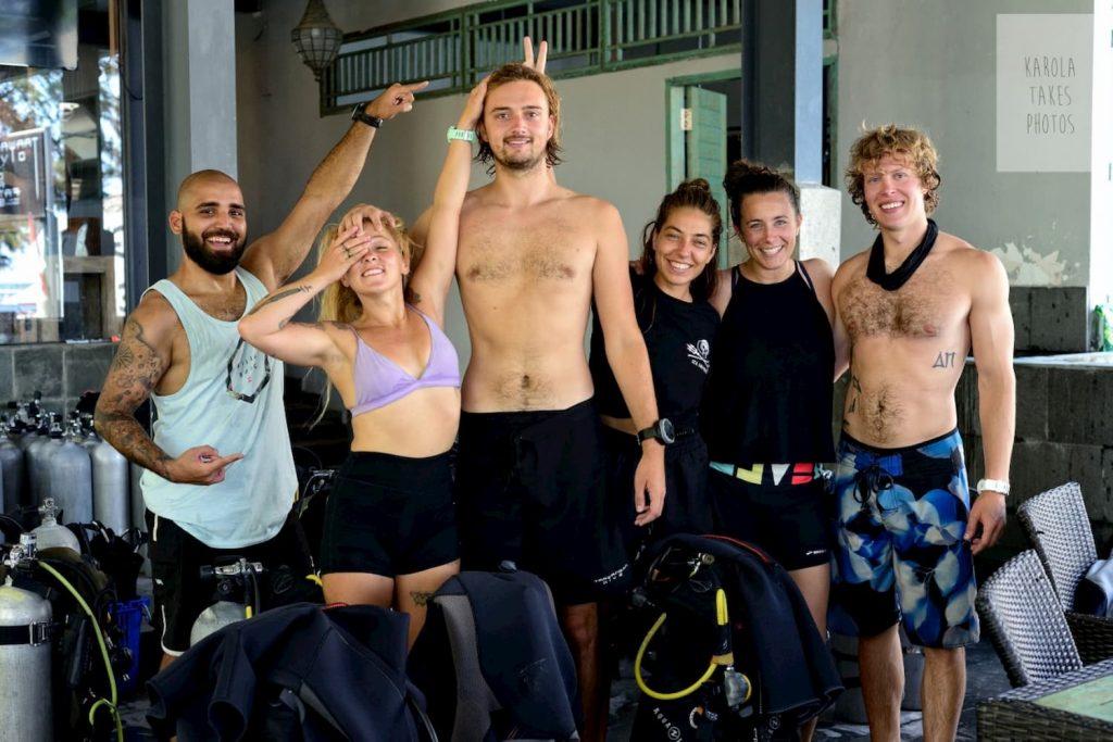 group of divemasters at Trawangan Dive Centre