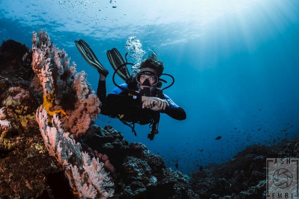 Divemster candidate during fun dive on Gili Trawangan