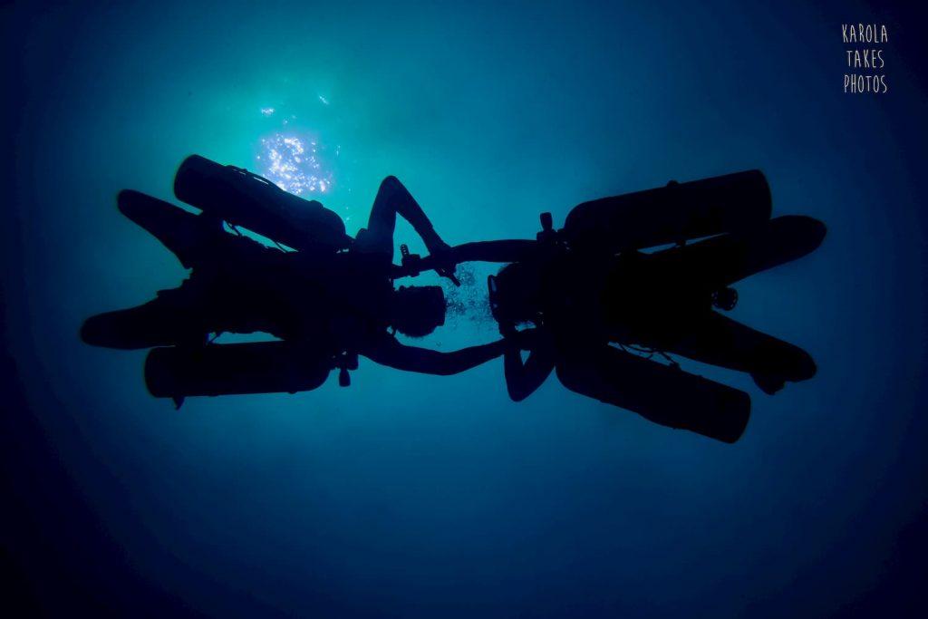 practicing skills during Sidemount Dive